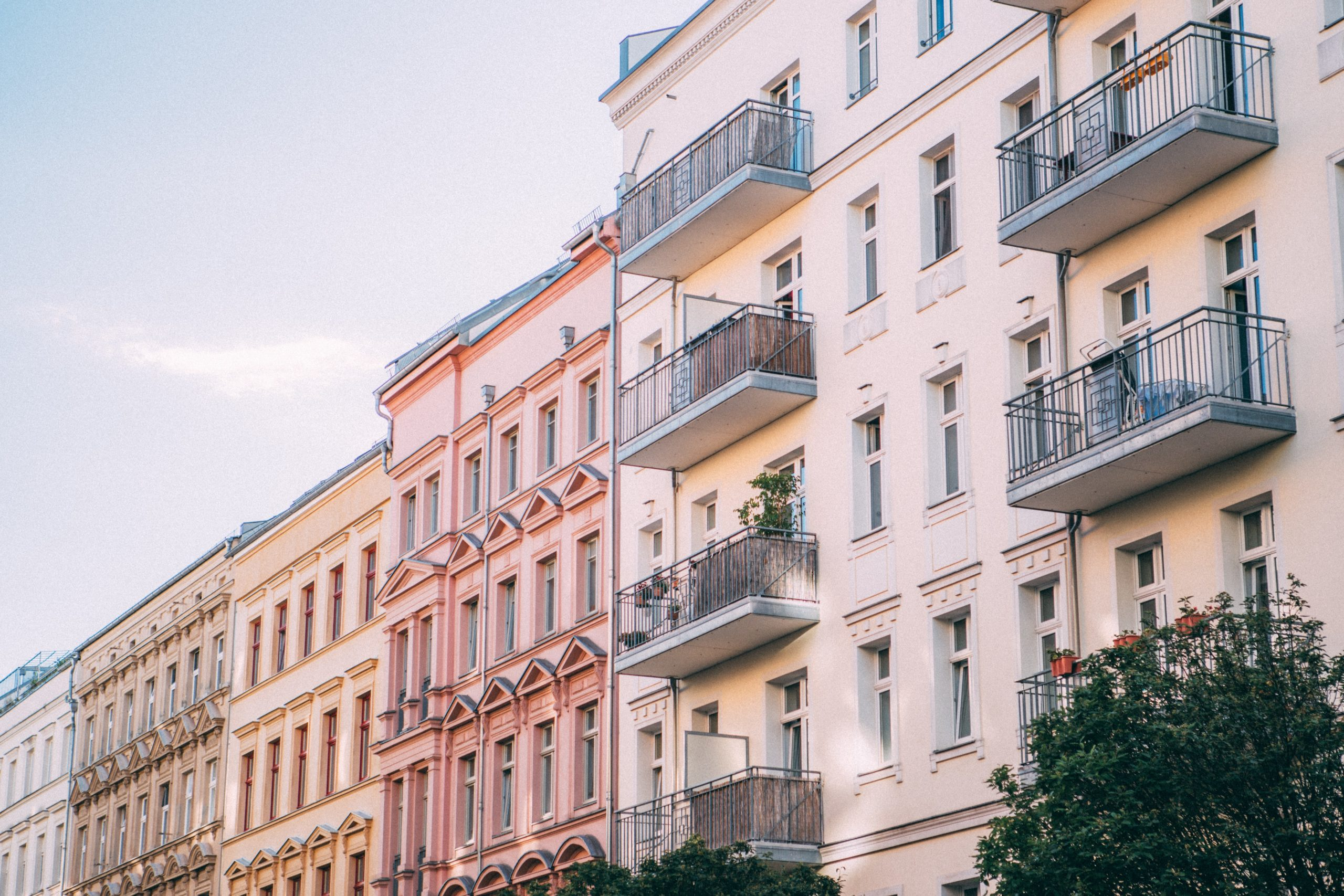 buildings with balconies on a sunny day; street view in Berlin